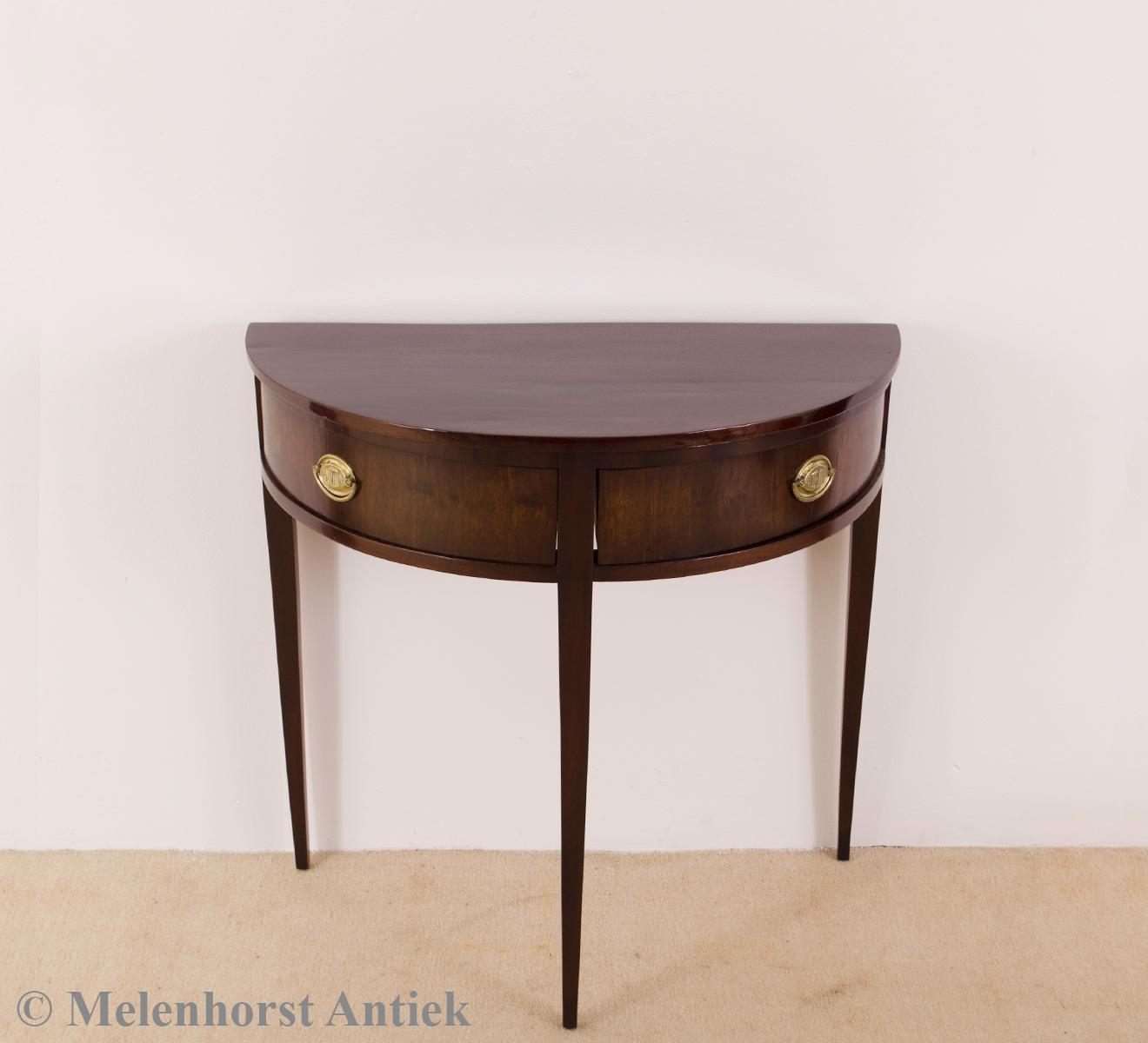 halbmond tisch antike uhren melenhorst. Black Bedroom Furniture Sets. Home Design Ideas